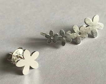 Silver Climber Earrings Trepador Flores - Silver Climbers - Flower Earrings - Flower Studs - Flower Climbers - Silver Jewelry - Gift for Her