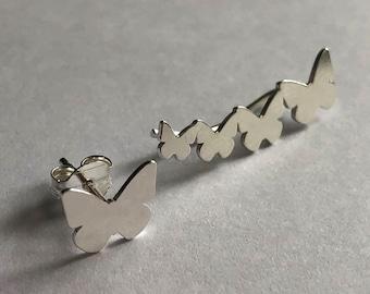 Silver Climber Earrings Trepador Mariposa - Butterfly Earrings - Butterfly Studs - Butterfly Climbers - Silver Climbers - Gift Idea for Her