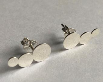 Silver Climber Earrings Trepador Disco - Silver Climbers - Silver Earrings - Circle Earrings - Silver Jewelry - Minimalist Earrings