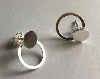 Demountable Earrings Disco Karma - 2 in 1 Earrings - Silver Stud Earrings - Silver Studs - Circle Studs - Silver Jewelry - Gift Idea for Her