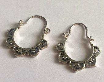 Silver Hoop Earrings Aro Boho Small - Boho Earrings - Boho Jewelry - Silver Jewelry - Silver Hoops - Boho Hoops - Gift Idea for Her