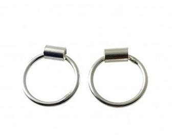 Silver Earrings Karma Circle Tubo - Silver Stud Earrings - Circle Earrings - Circle Studs - Silver Studs - Infinity Earrings - Gift for Her