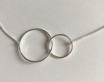 Silver Infinity Necklace L - Karma Ring Necklace - Chain Necklace - Sterling Silver Necklace - Infinity Jewelry - Karma Necklace - Gift Idea