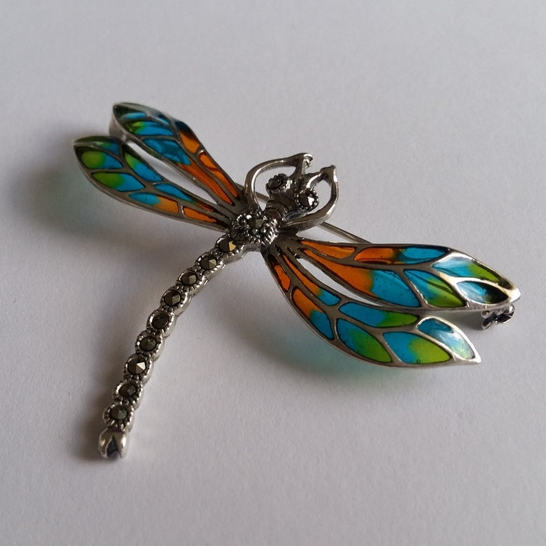 Dragonfly Brooch Stained Glass Brooch Libelula Naranja Orange Brooch Sterling Silver Brooch Gift Idea Dragonfly Jewelry Marcasite