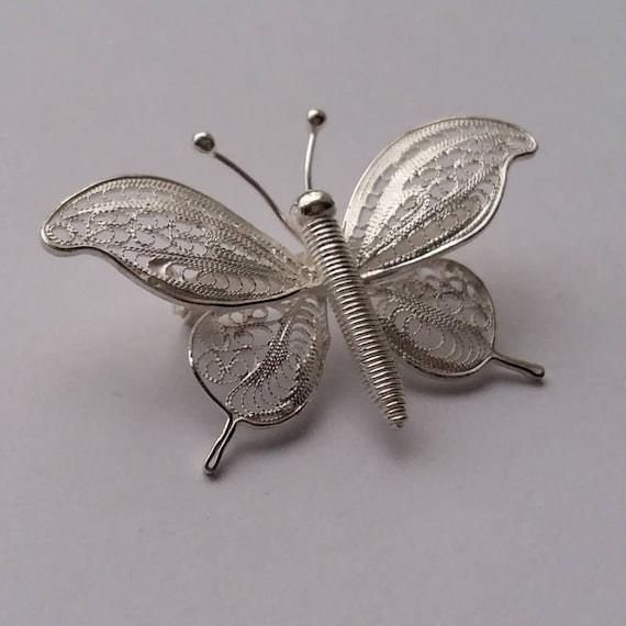 Sterling Silver filigrane Papillons Bague-Cadeau Gratuit pa