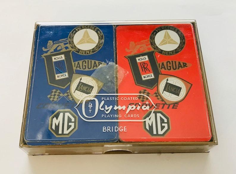 Vintage Olympia Playing Cards Corvette Rolls Royce MG Mercedes Jaguar Lancia
