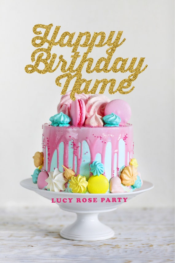 Personalised Happy Birthday Cake Topper Funky Font Pick Cake Etsy