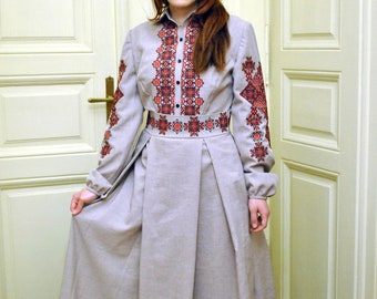 Stylish dress with embroidered geometric ornament, women maxi dress with embroidery