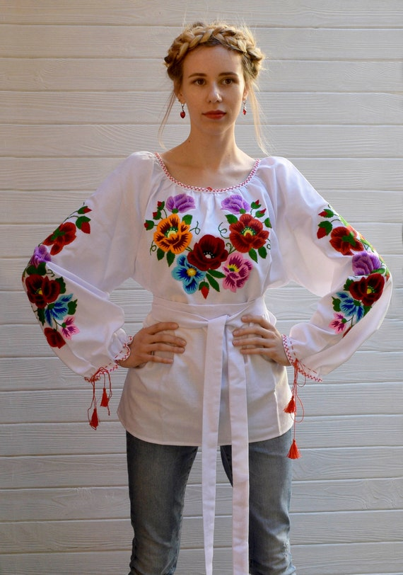 Ukrainian style ethnic clothes White embroidered flower blouse Ukrainian blouse floral embroidery vyshyvanka blouse