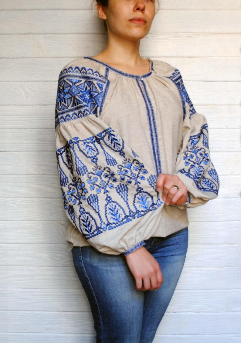 d76ef06558d Boho blouse Linen blouse Woman embroidery Long sleeved blouse