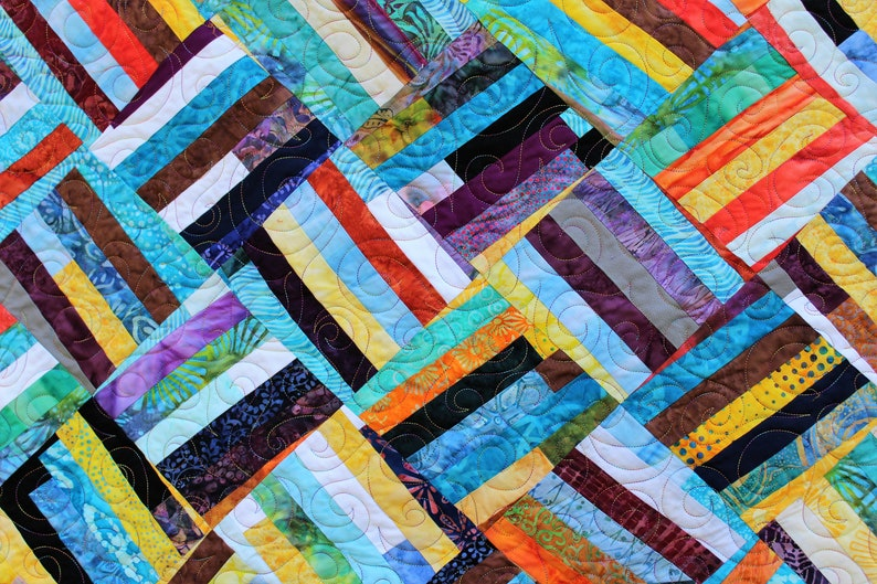 Wonky basketweave baby quilt