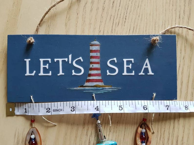 Boat Decor Let/'s Sea Summer Ornaments Let/'s Sea Hanging Sign with Shells Beach Home Door Hanger Hanging Sign Charms and Bead Adornments