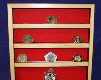 Military Unit/Challenge Coin Pine Wallmount Display (24 coin)