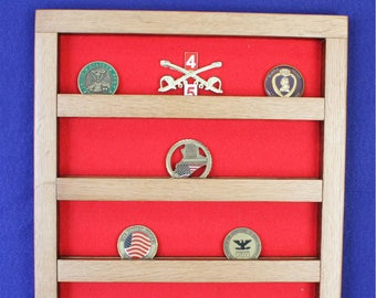 Military Unit/Challenge Coin Old Oak Wall-mount Display (20 coin)