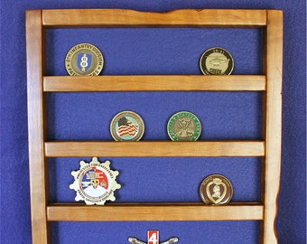 Military Unit/Challenge Coin Cherry Wall-mount Display (20 coin)
