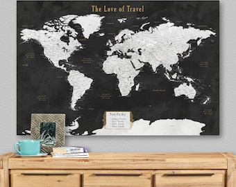 World map push pin etsy world map push pin travel canvas framed pinboard unique wedding gift for couple personalize cotton paper anniversary him men husband outdoor gumiabroncs Gallery