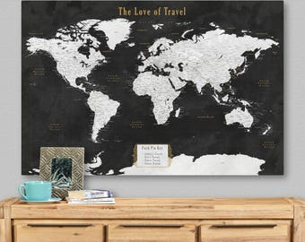 Couples travel map etsy world travel map canvas world map poster push pin wedding travel gift couples world map canvas with cities second anniversary gift for women gumiabroncs Choice Image