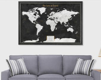 Map framed world map etsy push pin map world map cork board paper anniversary gift for husband push pin travel map frame world map board travel map cork board map art gumiabroncs Images