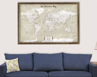 Framed world map etsy push pin map framed travel map of the world map detailed push pin travel map with frame world map for traveling gifts for boyfriend art gift gumiabroncs Images
