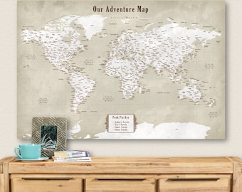 Pushpin globe etsy world travel pushpin map world travel decor world travel poster world map vintage large third anniversary gift for husband rustic home decor gumiabroncs Choice Image