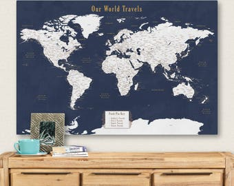world map and pins