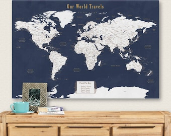 Travel map etsy push pin personalized world map push pin travel map for push pins map with cities push pin personalized map wedding gift for groom custom gumiabroncs Choice Image