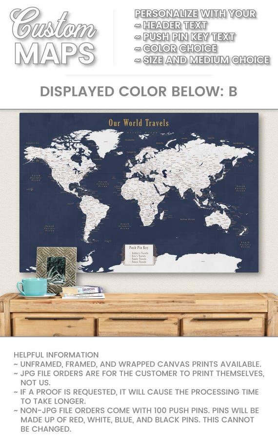 Personalized Anniversary Pushpin World Map.World Map Push Pin Personalized Anniversary Gift For Men Etsy