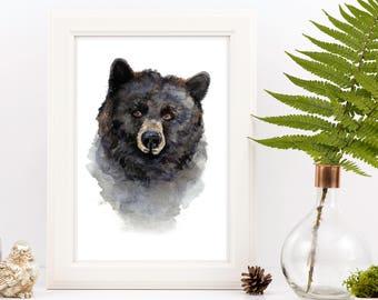 Black Bear Watercolor Print