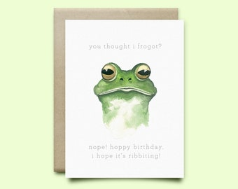 "Frog Birthday Card. ""You Thought I froggot?"", Birthday Card, Watercolor Card, Funny Card, Pun card, funny birthday card, frog pun card"