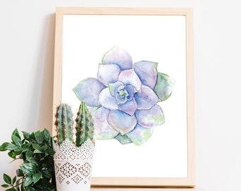 PRINTABLE Succulent Wall Art, Succulent Printable, Succulent Prints, Succulent Art decor, Botanical wall art, watercolor Succulent, digital