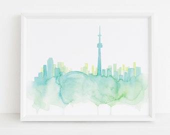 Toronto Watercolor Print | Toronto Print | Toronto Cityscape | Toronto Art | Toronto Decor | Toronto Skyline | Toronto Silhouette | Canada |