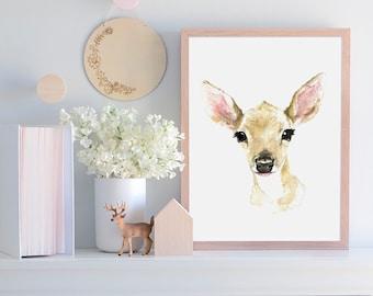 Printable Woodland Fawn Nursery Decor, Baby Animals, Nursery Art,fawn, Woodland Theme, Baby Animal Art, Baby's Room, Woodland Animal decor,
