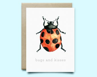 """Ladybug Greeting Card. """"Bugs and Kisses"""" 