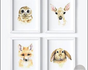 Printable Woodland Animals Nursery Decor, Set of 4 baby animals, Nursery Art, bunny, fox, owl, Woodland Theme, Baby Animal Art, Baby's Room