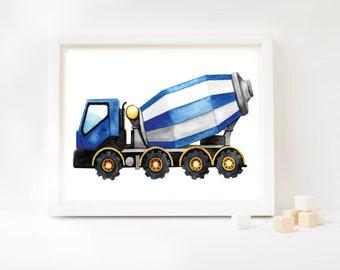 Cement Mixer Watercolor Art Print, Concrete Mixer, Construction Theme, Construction Vehicle, Kids Room, Kids Decor, Kids Art, Trucks, Mixer