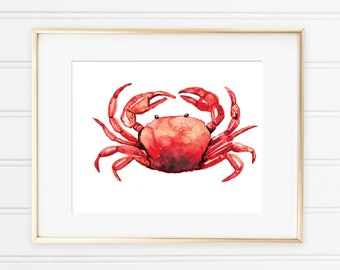 Crab Watercolor Print, Ocean theme art, Crab Artwork, Crab Painting, Nautical Theme, Nautical Decor, Ocean Theme Decor, Nautical Kids room