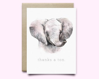 Thanks A Ton Elephant Watercolor Greeting Card. | thank you card | elephant card | thank you greeting card | elephant pun card | thanks card
