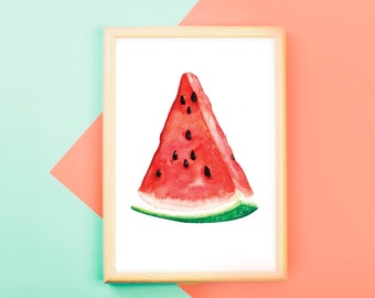 PRINTABLE Watermelon Art, Watercolor Printable, Watermelon Print, fruit art, watercolor watermelon, digital download artwork,wall decor