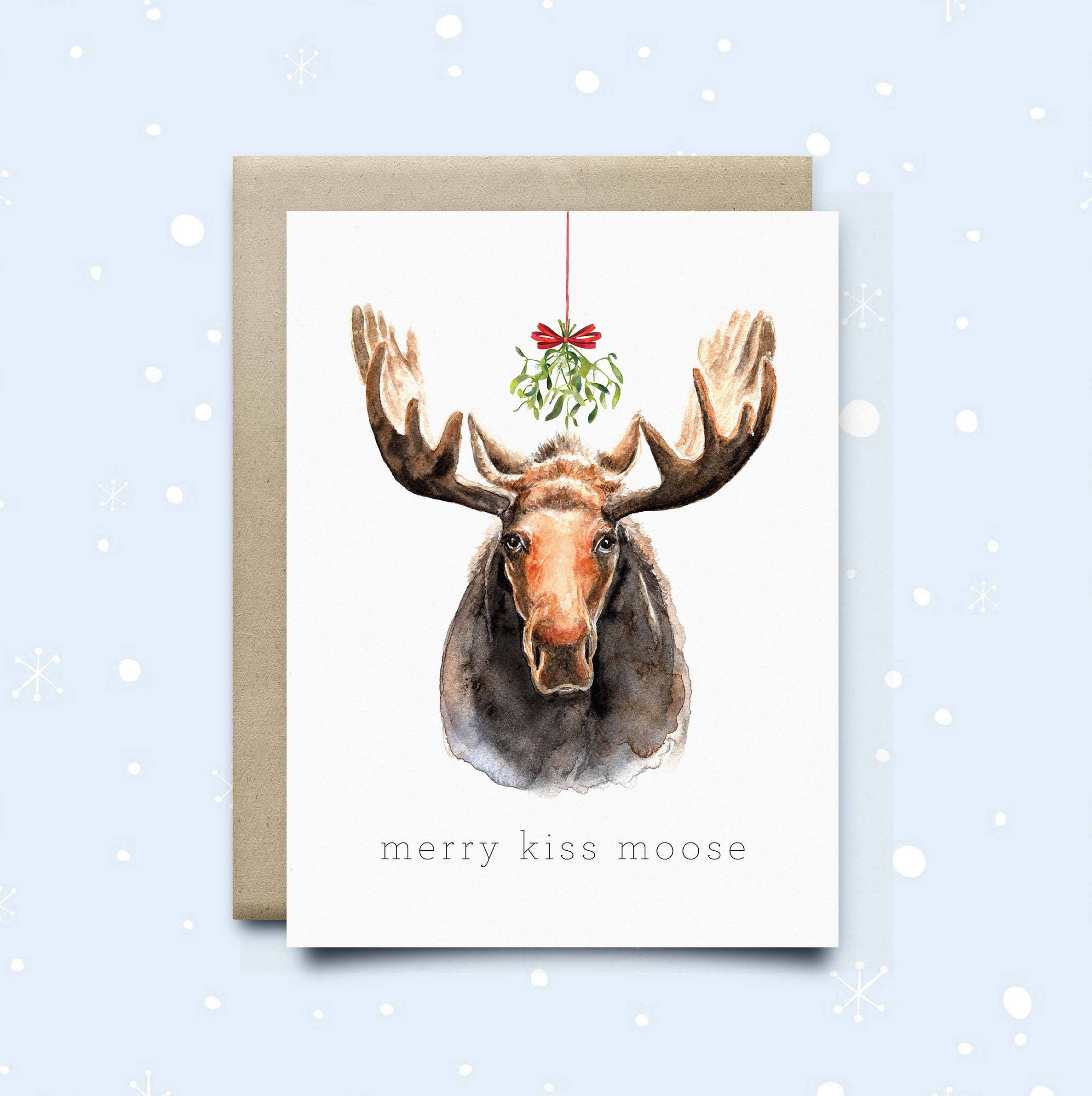 Moose Christmas Card Merry Kiss Moose Holiday | Etsy