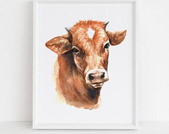 Cow Watercolor Print | Baby Animal Art | Nursery Print | Farm Theme | Baby's Room Art | Cow Art | Watercolor Cow | Nursery Decor