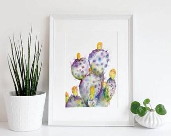 Purple Cactus Watercolor Print | Cactus Art | Cactus Decor | Purple Cactus art | Boho Decor | Cactus Painting | Cactus Artwork |Desert Decor