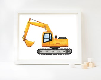 Digger Watercolor Art Print, Excavator Art, Digger Art, Construction Theme, Construction Vehicle, Kids Room, Kids Decor, Kids Art, Trucks