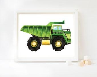 Dump Truck Watercolor Art Print, Dump Truck Art, Dumper Art, Construction Theme, Construction Vehicle, Kids Room, Kids Decor, Kids Art