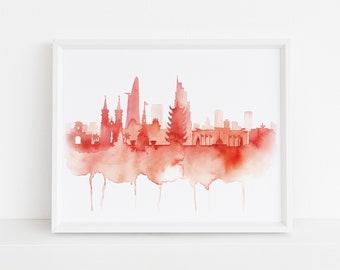 Ho Chi Minh Watercolor Print,watercolor skyline,Vietnam skyline,Ho Chi Minh Art,Skyline Art,Ho Chi Minh Skyline,Ho Chi Minh Silhouette Art