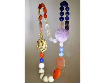 """Gemstone Necklace """"The colors of the Sunset"""""""