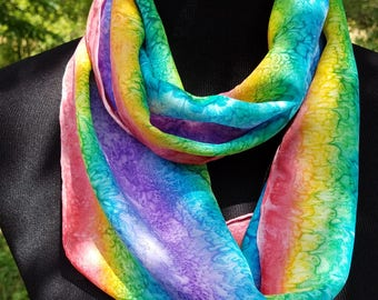 Rainbow Infinity Scarf / Hand Painted Silk Scarf / Small Infinity Scarf / Circle Scarf / Gift for Her / Gift for Him
