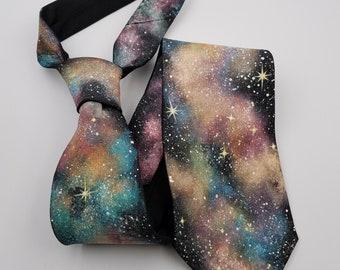 Hand Painted Galaxy Tie / Men's Silk Necktie / Black Tie / Wide Tie / Gift for Him / For Her