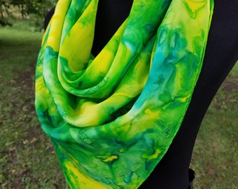 Green and Yellow Silk Scarf / Large Square Scarf / Hand Painted Scarf / Head Scarf / Women's Scarf / Gift for Her