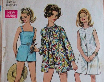 Misses One piece Swimsuit Bathing Suit Romper with Beach Dress Jacket Cover Up Vintage 60s Sewing Pattern Simplicity 7697 Size 18 Bust 40