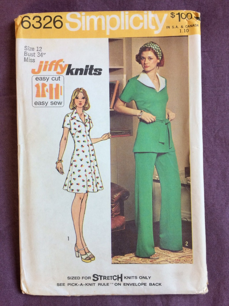 831511482 Womens Knit Short Dress or Top and Pants Vintage 1970s | Etsy